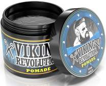 Viking Revolution Pomade for Men – Style & Finish Your Hair - Firm Strong Hold & High Shine for Men's Styling Support - Water Based Male Grooming Product is Easy to Wash Out, 4oz