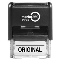 "Supply360 AS-IMP1129K - Original w/Upper and Lower Bars, Black Ink, Heavy Duty Commerical Self-Inking Rubber Stamp, 9/16"" x 1-1/2"" Impression"