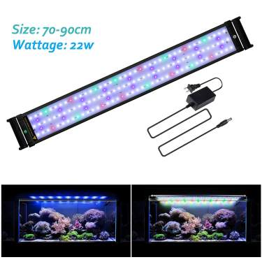 JOYHILL LED Full Spectrum Aquarium Lights,Fish Tank Light with Extendable Brackets,Suitable for Aquatic Reef Coral Plants and Fish Keeping 22W Fit 70cm-90cm//28-36 inch