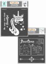 CrafTreat Stencils for Painting on Wood, Canvas, Paper, Fabric, Floor, Wall and Tile - Unicorn and Post Card from Paris - 2 Pcs - 6x6 Inches Each - Reusable DIY Art and Craft Stencils for Home Decor