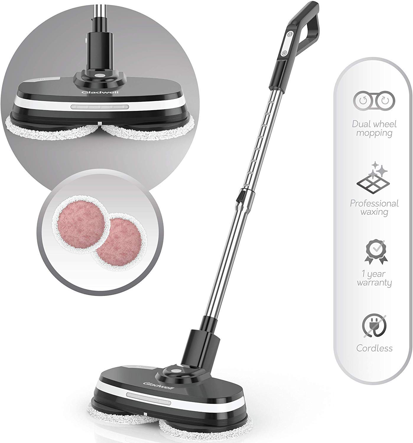 Gladwell Cordless Electric Mop, 3 in 1 Spinner, Scrubber, Waxer Quiet, Powerful Cleaner Spin Scrubber and Buffer, Polisher for Hard Wood, Tile, Vinyl, Marble, Laminate Floor, Black