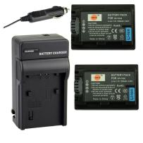DSTE Replacement for 2X NP-FH50 Battery + DC04 Travel and Car Charger Adapter Compatible Sony A230 A290 A390 DSC-HX1 HX100 HX200 HDR-TG1E TG3 TG5 TG7 Camera