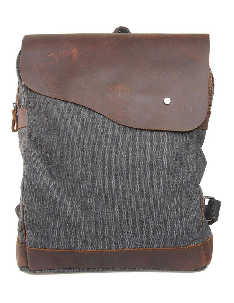 Leaper Vintage Canvas Leather Backpack School Bag Travel Backpack Rucksack Laptop Bag with Leisure Style Dark Gray