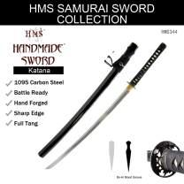 HMS Japanese Samurai Katana Sword, Bamboo Pattern Tsuba, Hand Forged, 1095 Carbon Steel, Clay Tempered, Full Tang, Sharp