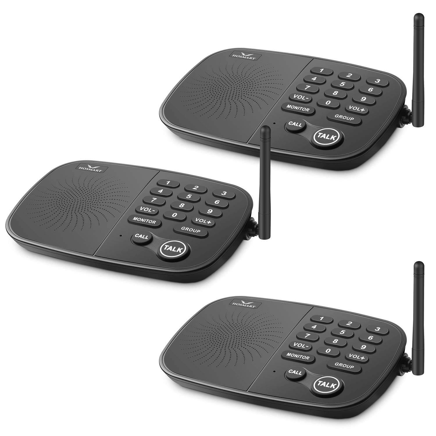 Hosmart 1/2 Mile Long Range 10-Channel Security Wireless Intercom System for Home or Office[3 Units Black]