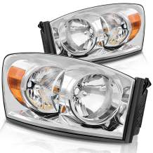 DWVO Headlight Assembly Compatible with 06-08 Dodge Ram 1500, 06-09 Dodge Ram 2500/3500 Replacement Headlamp Driving Light Chromed Housing Amber Reflector