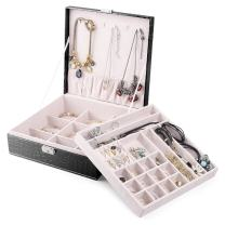 MESHA Locking Jewelry Box Organizer for Women/Girls,2-Layer & 29-Compartment Leather Jewelry case, Necklace Display Storage case with Lock, Jewelry Holder for Earrings & Bracelets & Rings - Black