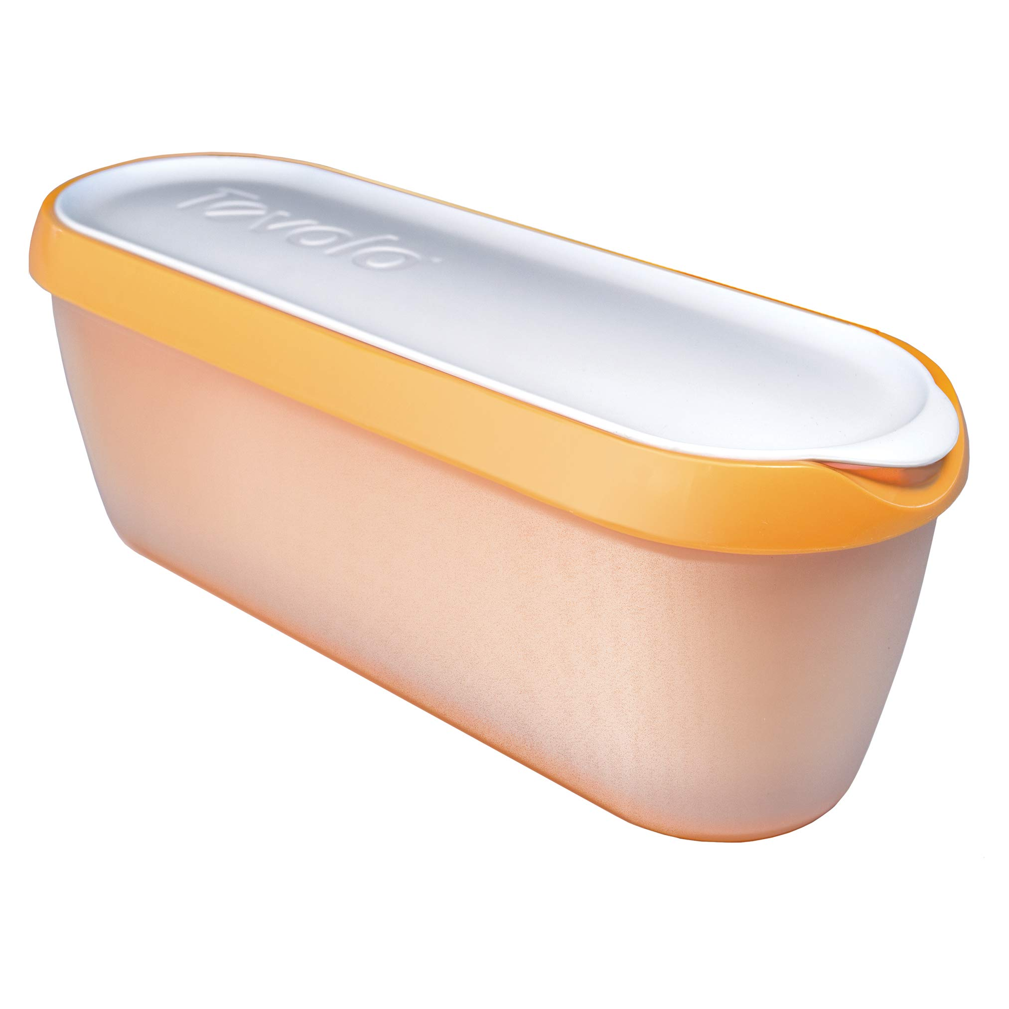 Tovolo Glide-A-Scoop Ice Cream Tub, 1.5 Quart, Insulated, Airtight Reusable Container With Non-Slip Base, Stackable on Freezer Shelves, BPA-Free, Orange Crush