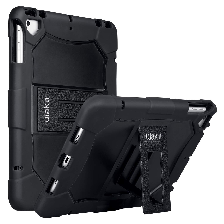 ULAK iPad 9.7 Case 2018 iPad 6th Generation Case / 2017 iPad 5th Generation Case, iPad Air Case, Heavy Duty Protection Shockproof Kidproof Protective Kickstand Case for iPad 9.7 inch 2018/2017, Black