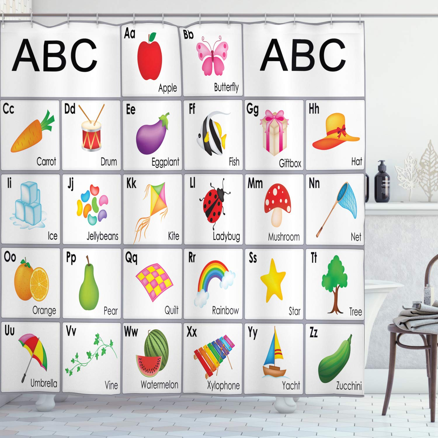 """Ambesonne Alphabet Shower Curtain, Educational Themed Squares with Letters Animals and Vegetables Nursery Composition, Cloth Fabric Bathroom Decor Set with Hooks, 84"""" Long Extra, Purple Yellow"""