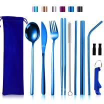 Travel Silverware Set with Case, Reusable Camping Eating Utensils Set,Portable Stainless Steel Cutlery Set for 1, Knife Fork Spoon Chopsticks (Ocean Blue Silverware Set)