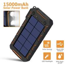 Solar Charger 15000mAh, Portable Phone Charger External Battery Pack with 1.5W High Efficiency Solar Panel, Dual USB Output Ports, Flashlight, Carabiner, IP65 Rainproof for Camping, Fishing