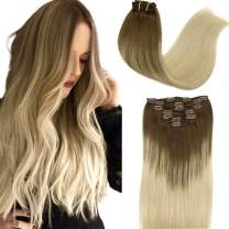 Clip in Human Hair Extensions hotbanana Ombre Ash Brown to Platinum Blonde Remy Human Hair Extensions Clip in Real Hair Extensions Clip on Natural Straight Clip Hair Extensions 18 Inch 120g 7pcs