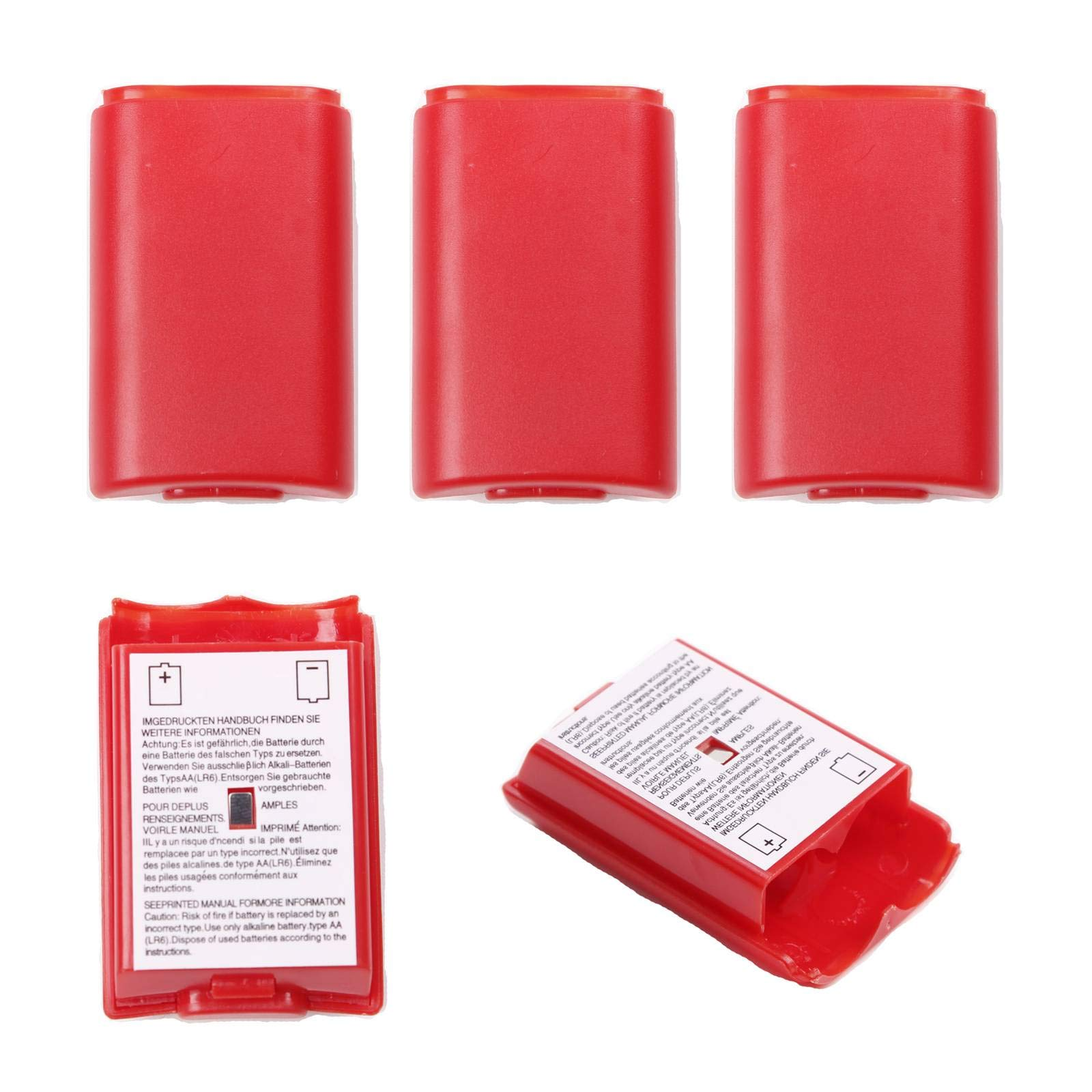 BIHRTC Pack of 5 Pcs Replacement AA Battery Case Battery Pack Cover Shell Case Kit for Xbox 360 Wireless Controller (Red)