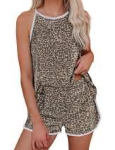 LookbookStore Women's Cozy 2 Pieces Short Pajama Sets Tie Dye Loungewear Nightwear Printed Sleepwear