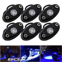 LEDMIRCY LED Rock Lights Blue Kit for JEEP Off Road Truck ATV SUV Boat Car Auto High Power Underbody Glow Neon Trail Rig Lights Underglow Lights Waterproof Shockproof(Pack of 6,Blue)