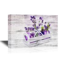 wall26 - Canvas Wall Art - Lavender in Bottles, Decor Provance Style - Gallery Wrap Modern Home Decor   Ready to Hang - 12x18 inches