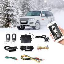Car Remote Start PKE Passive Keyless Entry One Key Engine Start for Car with Shock Sensor Car Alarm System Remote Key or Phone Control