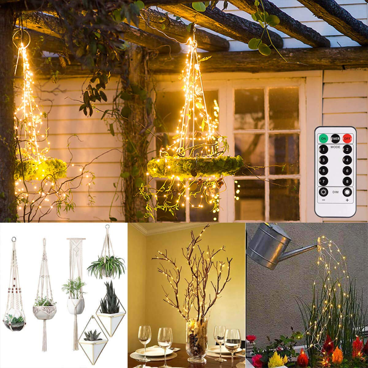 ALOVECO Battery Operated String Lights 2 Pack with Remote Timer, 200 LED Fairy Hanging String Lights Decorative Lighting for Christmas Tree, Garden Plant Hanger, Dorm, Wedding, Party, Bedroom