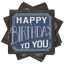 JAM PAPER Birthday Party Beverage Napkins - 5 x 5 - Happy Birthday to You - 16 Napkins/Pack