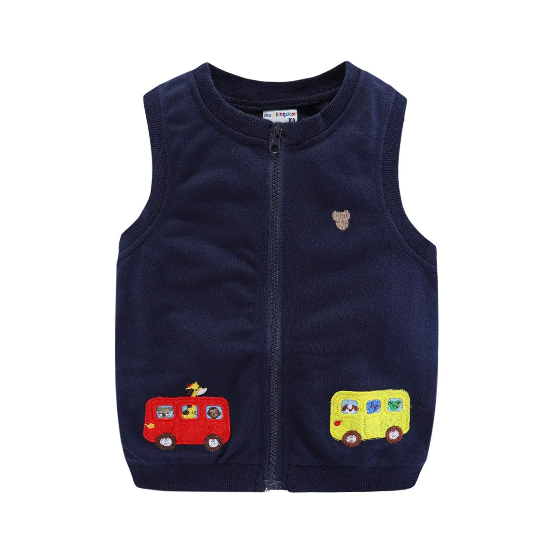 Mud Kingdom Little Boys Vests Outerwear Cute Animal Bus