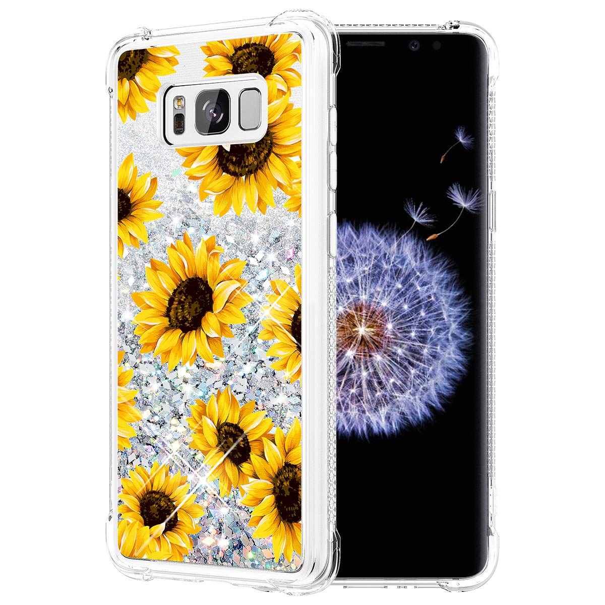 Caka Glitter Case for Galaxy S8 Case Flower Bling Luxury Fashion Flowing Liquid Floating Sparkle Glitter Soft TPU Case for Samsung Galaxy S8 (Sunflower)