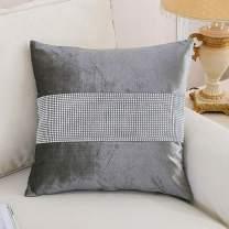HeMiaor Set of 4 Grey Elegant Pillow Cases Velvet Cushion Case Diamante Strip Pillow Cover, 18inch x 18inch