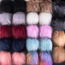 SIQUK 24 Pieces Faux Fox Fur Pom Pom Balls DIY Faux Fox Fur Fluffy Pom Pom with Elastic Loop for Hats Keychains Scarves Gloves Bags Accessories(12 Bright Colors, 2 Pcs Each Color)