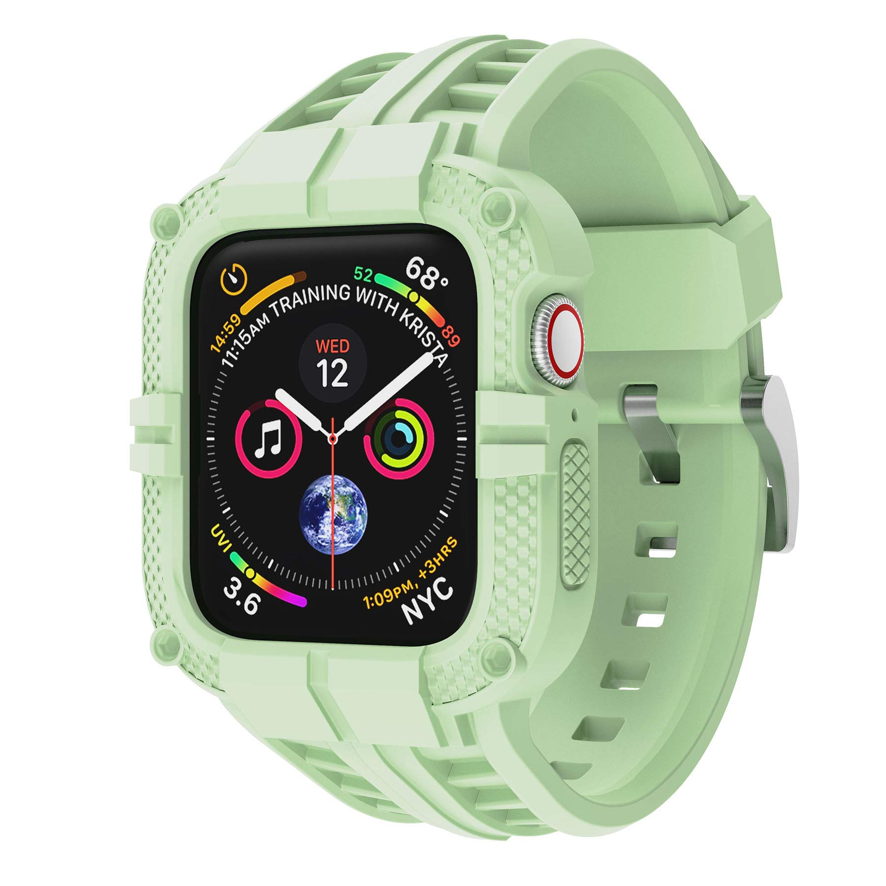 T-ENGINE Band Compatible with Apple Watch Band 40mm Series 6 Series 5/4/SE, TPU Rugged Band with Full Protection Case for Women/Men, Mint Green