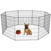 BestPet Pet Playpen Dog Fence Exercise Pen Metal Wire Portable Playpen Dog Crate Kennel Cage Black,24 Inches