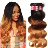 Nadula 8A Grade Brazilian 3 Tone Ombre Color 1B/4/27# Body Wave Hair 3 Bundles Cheap Brazilian Virgin Human Hair Products 100+/-5g/pcs Weave Extensions Natural Color (18 20 22)