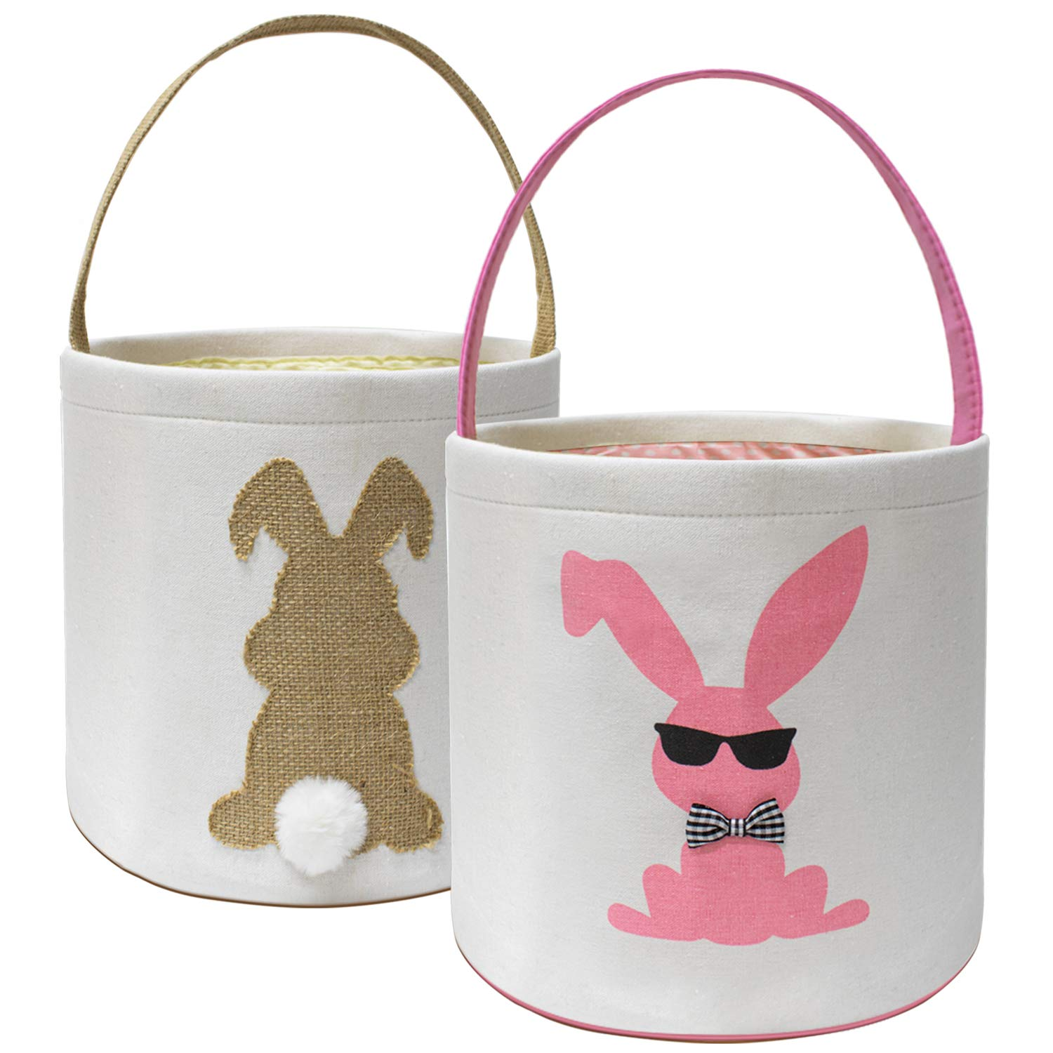 Easter Basket - Easter Bunny Baskets 2 Pack Easter Baskets for Kids with Handles,Fluffy Tails for Easter Eggs Hunt Party Celebrate Easter Decorations Gift Toys Carry Bucket Tote