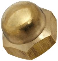 "Brass Acorn Nut, USA Made, 5/8""-11 Thread Size, 15/16"" Width Across Flats, 3/4"" Height, 7/16"" Minimum Thread Depth (Pack of 5)"
