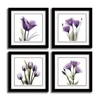 HLJ ART 4 Panel Elegant Tulip Purple Flower Canvas Print Wall Art Painting for Living Room Decor and Modern Home Decorations Photo Prints 12x12inch (Frames Purple S)