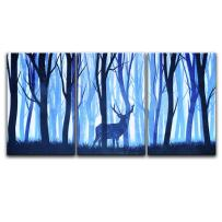 """wall26-3 Panel Animal Canvas Wall Art - Watercolor Painting Style Deer in Blue Woods - Giclee Print Gallery Wrap Modern Home Decor Ready to Hang - 24""""x36"""" x 3 Panels"""