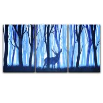 "wall26-3 Panel Animal Canvas Wall Art - Watercolor Painting Style Deer in Blue Woods - Giclee Print Gallery Wrap Modern Home Decor Ready to Hang - 24""x36"" x 3 Panels"