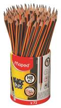 Maped Black'Peps #2 Graphite Pencil School Pack, Triangular Shape, Pack of 72 (851759ZV)