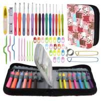 Katech Crochet Kit with Storage Case Organizer, Ergonomic Crochet Hooks Set 49 Pieces of Knitting Accessories DIY Hand Craft Knitting Tools Crochet Needles Weave Yarn Kits for Crochet Lovers (Pink)