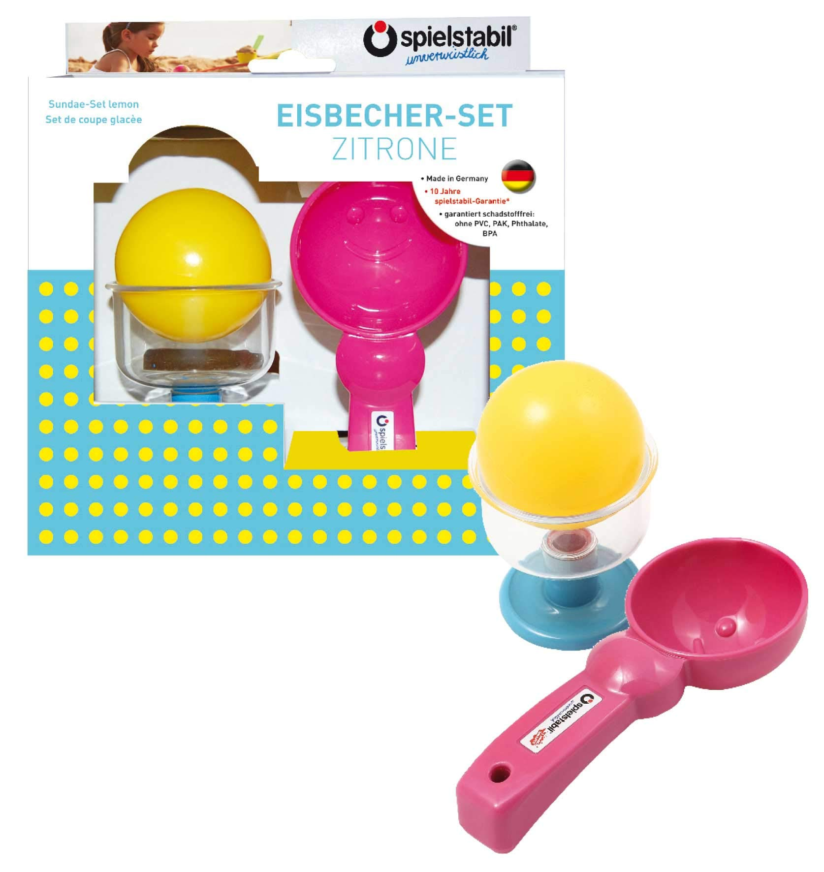 Spielstabil Lemon Sundae Set for Use in The Sand or with Real Food (Made in Germany)