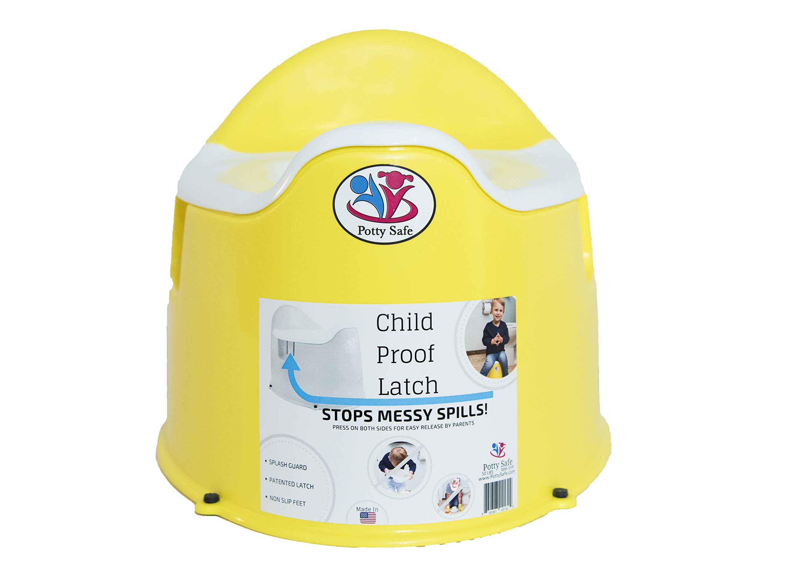 Potty Safe-Potty Training Toilet w/Child Proof Latch; Potty Chair; Training Potty;Potty Training; Toilet Training; Kids Potty Chair; Made in USA; Child Potty Chair; Non Slip feet (Yellow)