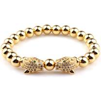 GVUMSIL Luxury Charm 8mm Natural Stone Leopard CZ Crown Distance Elastic Bead Bracelet for Men Women