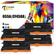 Toner Bank Compatible Toner Cartridge Replacement for HP CF450A 655A for HP Color Laserjet Enterprise M652dn M652n M653dn M653dh M653x MFP M681dh M681f Flow MFP M681f M681z M682z Toner (KCMY,4Packs)