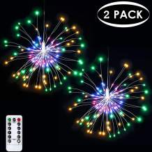 2 Pack Christmas Decoration Starburst Lights Fireworks String Lights, 8 Modes Dimmable Fairy Lights with Remote Control, Bouquet Hanging Lights for Party, Outdoor use(120 LED, Colorful, Battery)