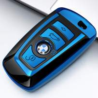 Uxinuo for BMW Key Fob Cover Case for BMW 1 3 4 5 6 7 Series and Compatible with BMW X3 X4 M2 M3 M4 M5 M6 Keyless Smart Key Chain, Blue