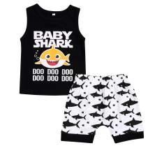 Baby Boy Short Sets Toddler Baby Boys Shark Doo Doo Print Sleeveless Tops+Shorts Outfits Set