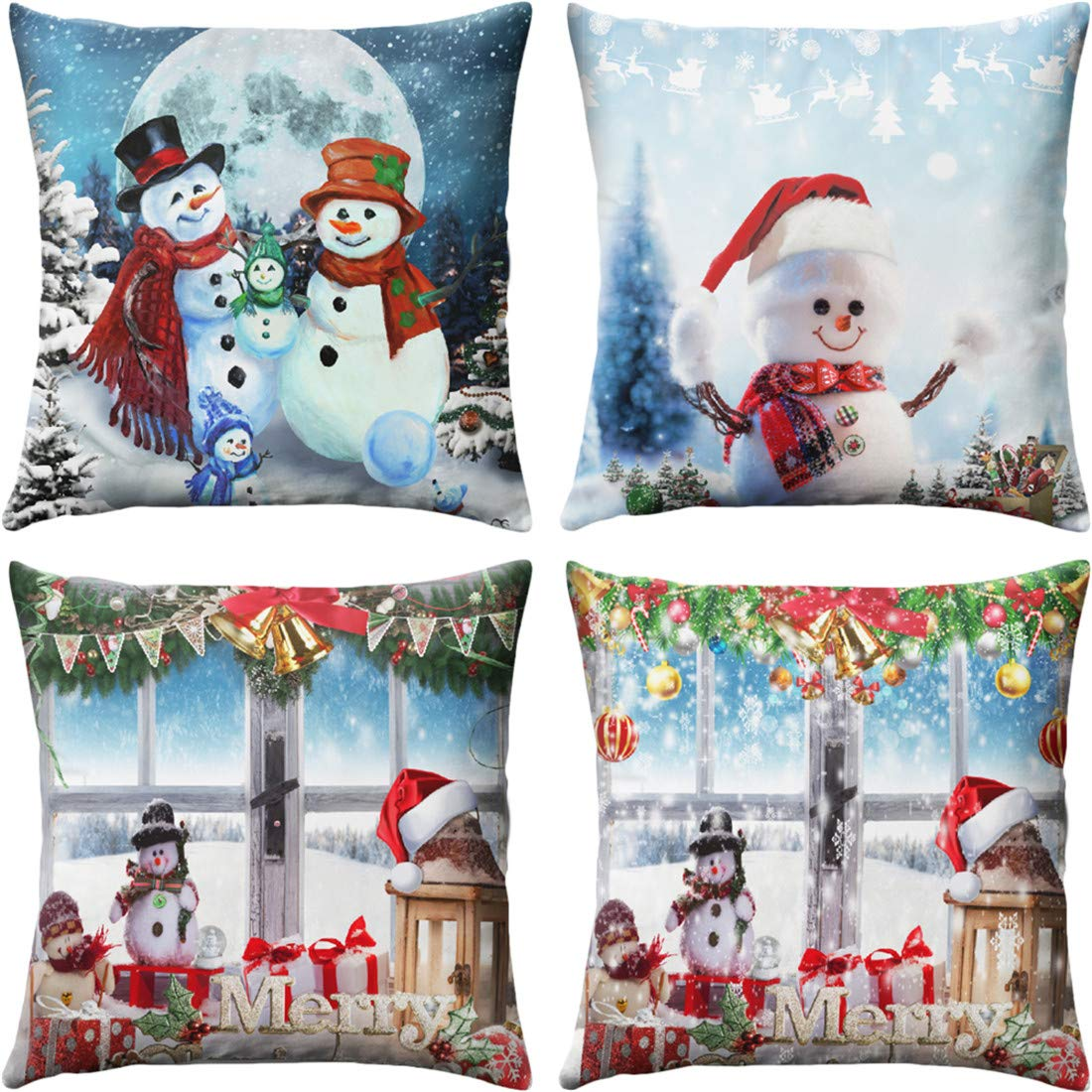 "4 PCS Christmas Pillow Covers 18"" x 18"" Throw Pillow Covers Decorative Pillowcases Christmas Theme Snowman Soft Linen Cotton Design Cushion Cover for Sofa,Bedroom,Chair,Car Seat,Farmhouse"