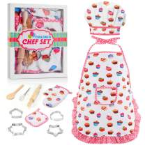 Tesoky Gifts for 3-8 Year Old Girls Boys Kids Chef Hat and Apron for 4-7 Year Old Girls Creative Cooking and Baking Sets Girls Chef Role Custome Cooking Toys Birthday Gifts Age 3-8 Christmas(White)