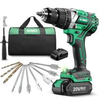 "KIMO Brushless Drill/Driver Kit, Cordless Impact Drill Driver Set w/ 2.0Ah Li-ion Battery with Charger, 800 In-lb Torque, 1/2"" Chuck,243 Clutch,7 Spade Bits & 6 Concrete Bits for Wood Metal Drilling"