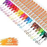 Paint Pens Markers for Rocks Painting Stone Ceramic Tire Glass Wood Easter Egg Fabric Metal Porcelain Drawing, Set of 20【Medium tip】Oil Based Paint Marker Pens, Professional Art Pens