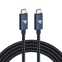 RAMPOW USB C to USB C Cable 3ft [100W, Braided], Fast Charging USB C to USB Type C Cable, Compatible with MacBook Pro/Air, iPad Pro 2018, and Type-C Laptops - Navy Blue